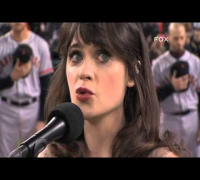 2012/10/27 Zooey Deschanel sings anthem