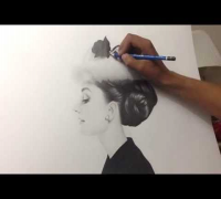 Audrey Hepburn Graphite Drawing by Chris Herrera