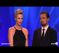 Charlize Theron and Leonardo DiCaprio present award to Steve Warren at the #glaadawards