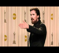 Christian Bale Oscars Press Room part 1