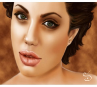 Digital Painting - ANGELINA JOLIE with photoshop by Stephanie Valentin