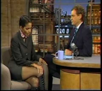 "Halle Berry in ""hooker"" leather boots on David Letterman - 1995"