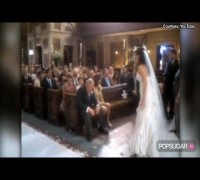 Jennifer Garner in a Wedding Dress Doing the Wave