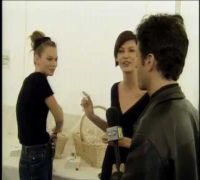 Jon Stewart with Kate Moss and Linda Evangelista