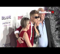 Justin Bieber Fan Frenzy Usher, Pattie Mallette, Scooter Braun at 'Believe' LA premiere