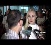 Malin Akerman talks w Eric Blair about playing Debbie Harry of Blondie @ The Premiere of CBGB Movie