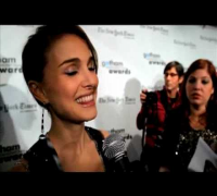 Natalie Portman talking with Brad Blanks in New York City