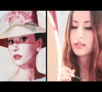 Painting Audrey Hepburn (oil) by Lena Danya