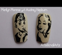 Popart Marilyn Monroe and Audrey Hepburn Nail Art