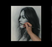 Portrait drawing Megan Fox. How to draw by dry brush.  Сухая кисть