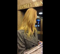 Uma Thurman signing autographs for fans after Jimmy Fallon Show