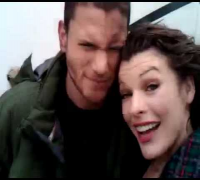 Wentworth Miller &  Milla Jovovich on Resident Evil: Afterlife Set